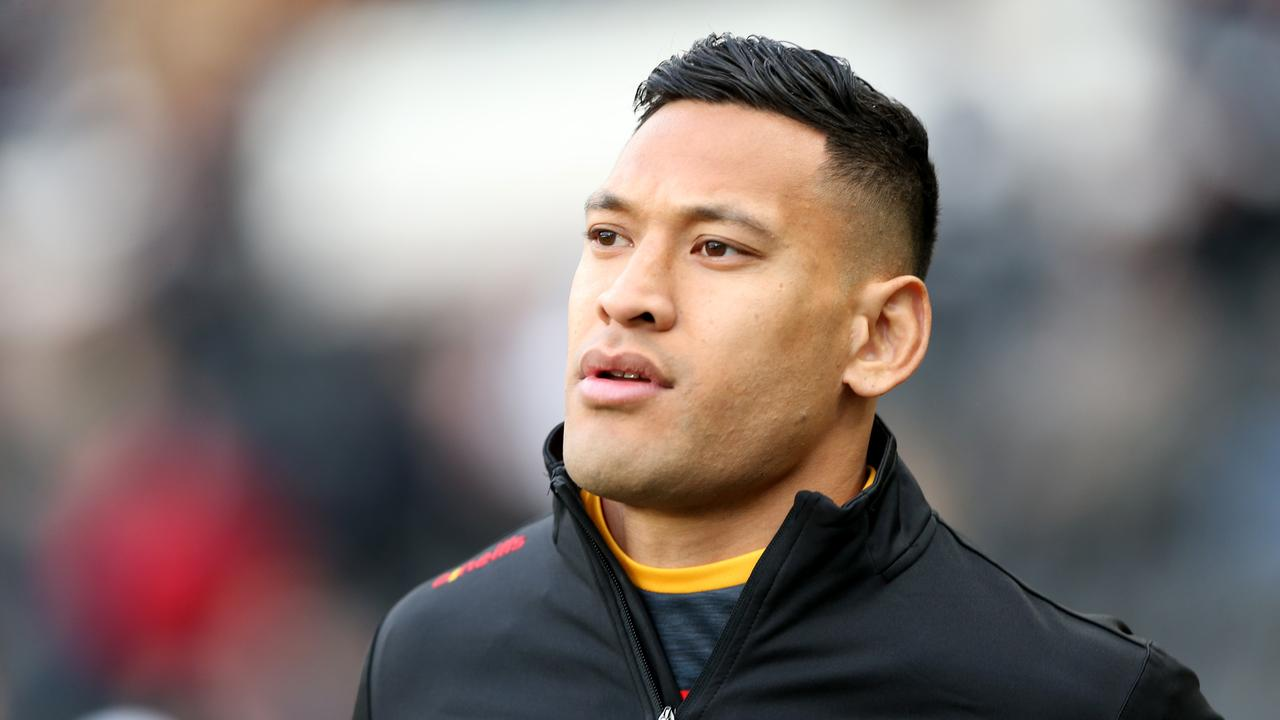 Israel Folau warms up prior to the Betfred Super League match between Hull FC and Catalan Dragons in March.