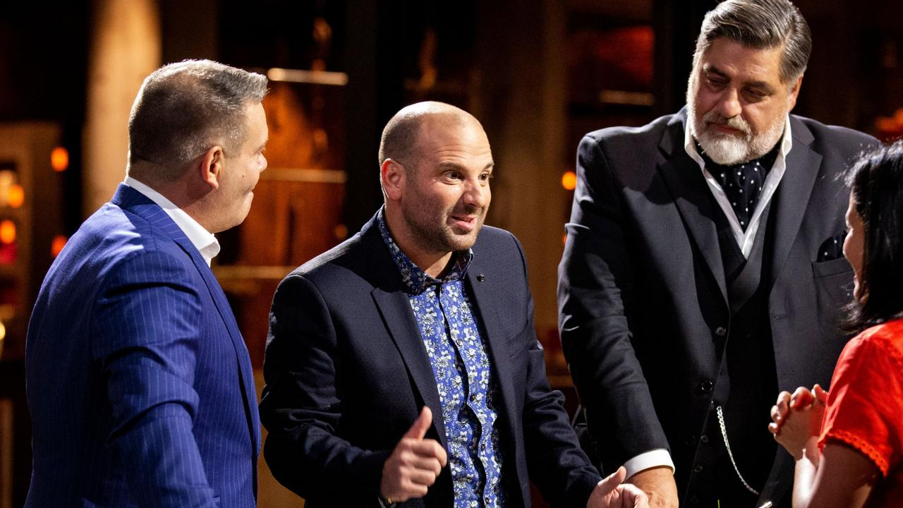 Former judges Gary Mehigan, George Calombaris and Matt Preston in new season MasterChef with a Victorian contestant. Picture: Supplied/Ten