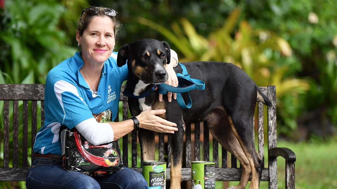 President Penny Bischke said the community has helped a skeleton crew of volunteers operate and put animals first at time COVID-19 has created challenges for rehoming animals. Pictured with Penny is six-year-old Stumpy a Huntaway cross. Photo Patrick Woods / Sunshine Coast Daily.
