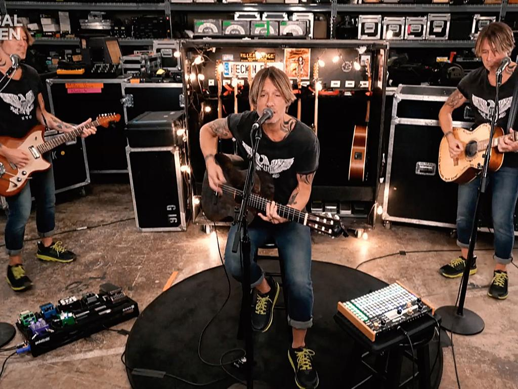 Keith Urban used some camera trickery for his performance. Picture: Getty