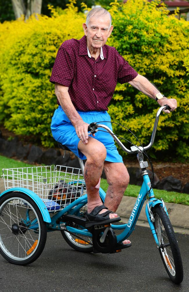 Jack Alsbury, 98, likes to keep active and still rides a bike. He said living during the Great Depression was tough. Picture: Lachie Millard