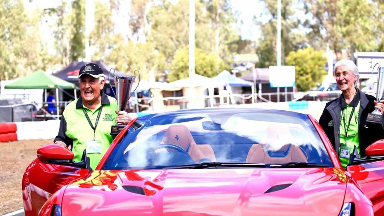 GUESTS OF HONOUR: Alf and Maureen Capri climb into a Ferrari at the 2019 'Capri Cup', an annual event held by the Ipswich Kart Club in recognition of their enormous contribution to the sport.