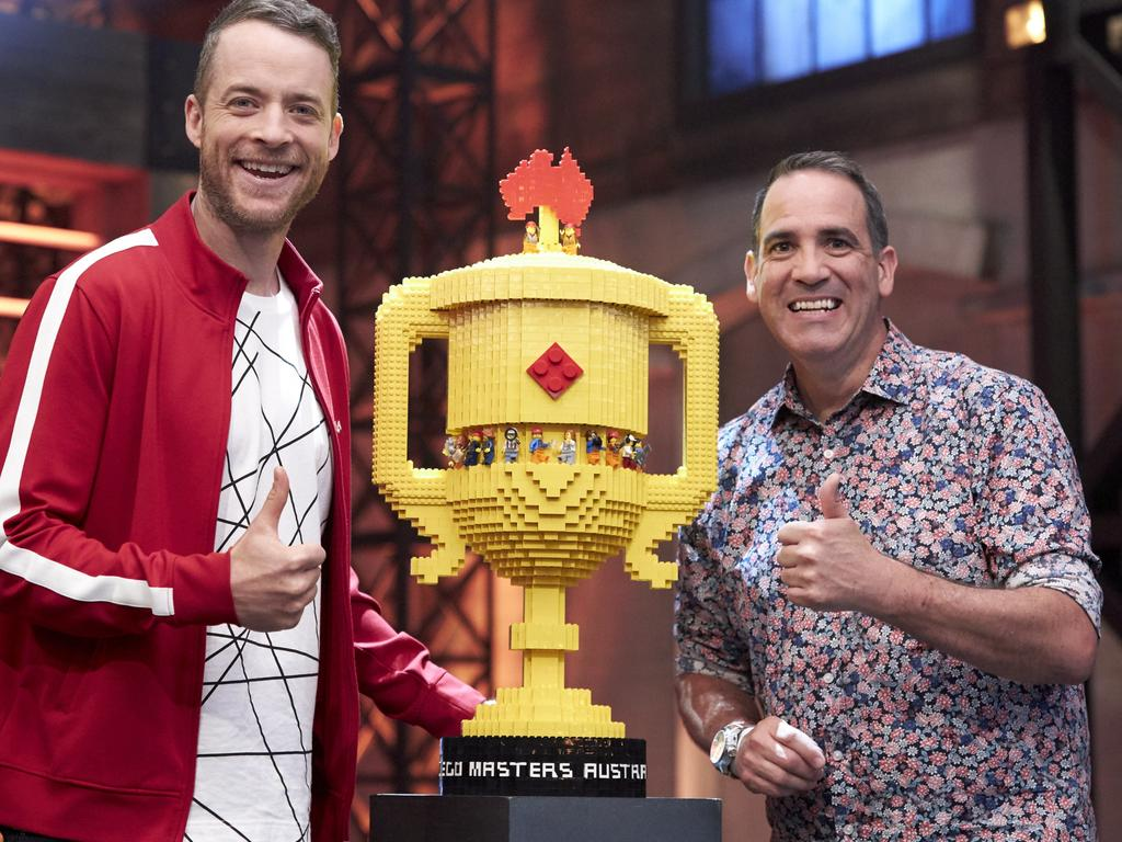Lego Masters host Hamish Blake with the trophy. Picture: Chanel 9