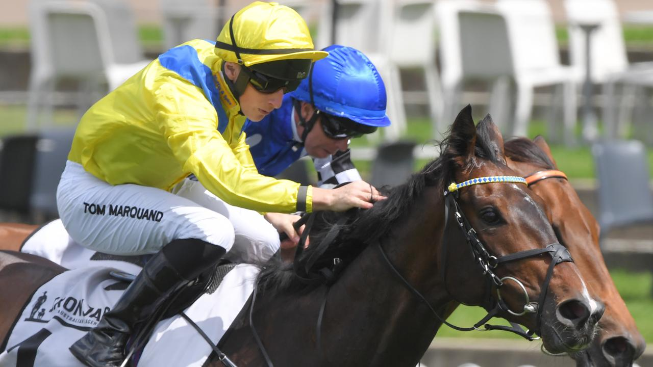 Jockey Tom Marquand riding Young Rascal to victory in Manion Cup at Rosehill. Picture: AAP