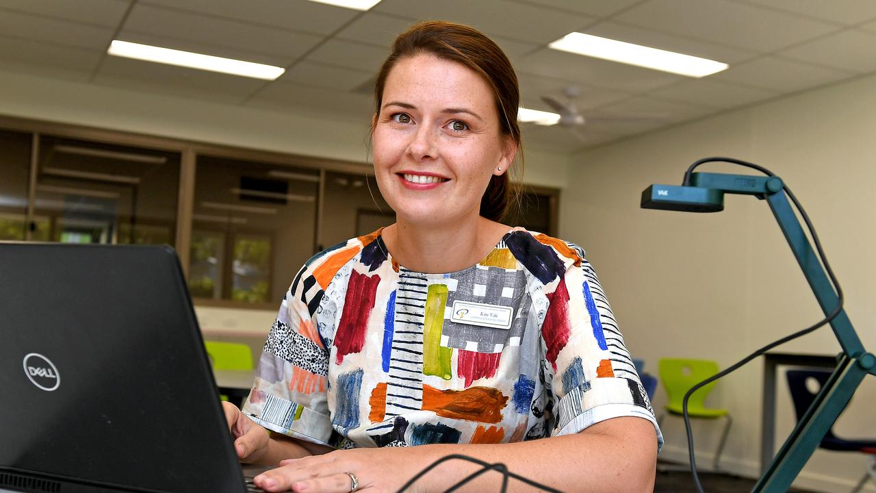 Indooroopilly State High School teacher Kate Vale held online classes yesterday. Picture: John Gass/AAP