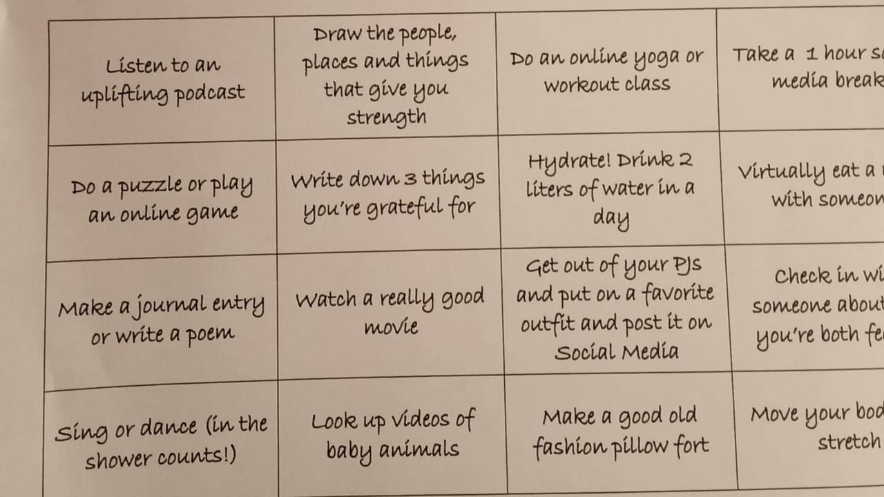 The 'Isolation bingo' list of suggested activities for quarantined guests off international flights.