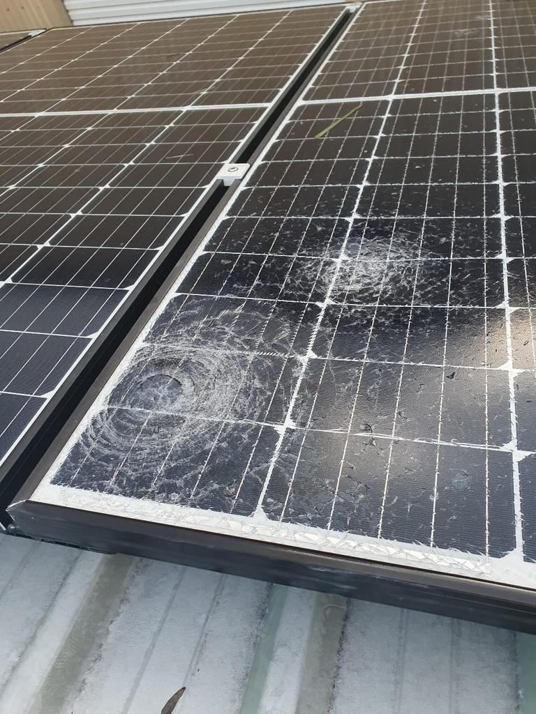 Smashed solar panels after the Rockhampton hailstorm on Sunday afternoon