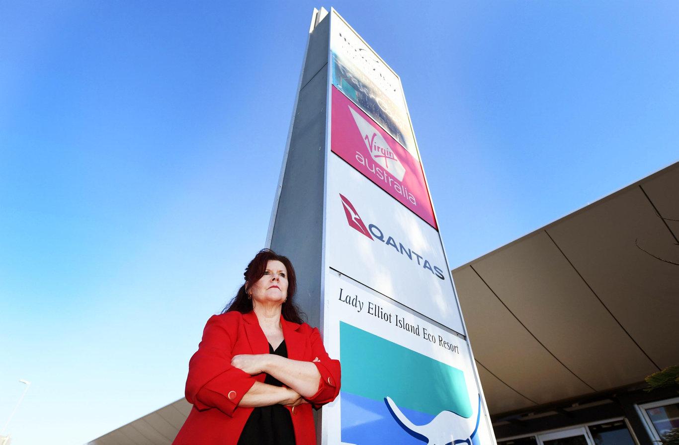 Virgin Australia goes in to voluntary administration - Hervey Bay Chamber of Commerce President Sandra Holebrook at Hervey Bay airport. Photo: Cody Fox
