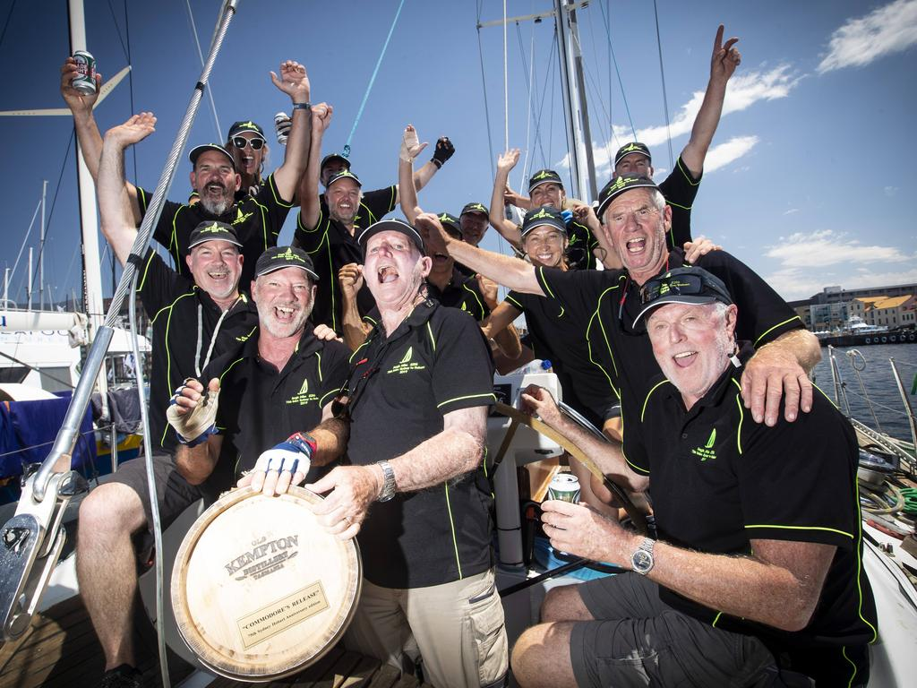 The crew of Magic Miles after finishing the 2019 Sydney to Hobart. Picture: LUKE BOWDEN
