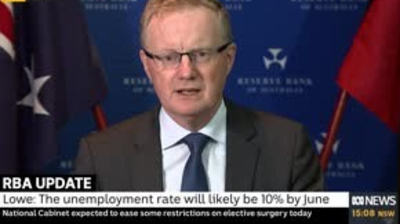 RBA Governor Philip Lowe says the unemployment rate will reach 10 per cent within months. Picture: ABC News