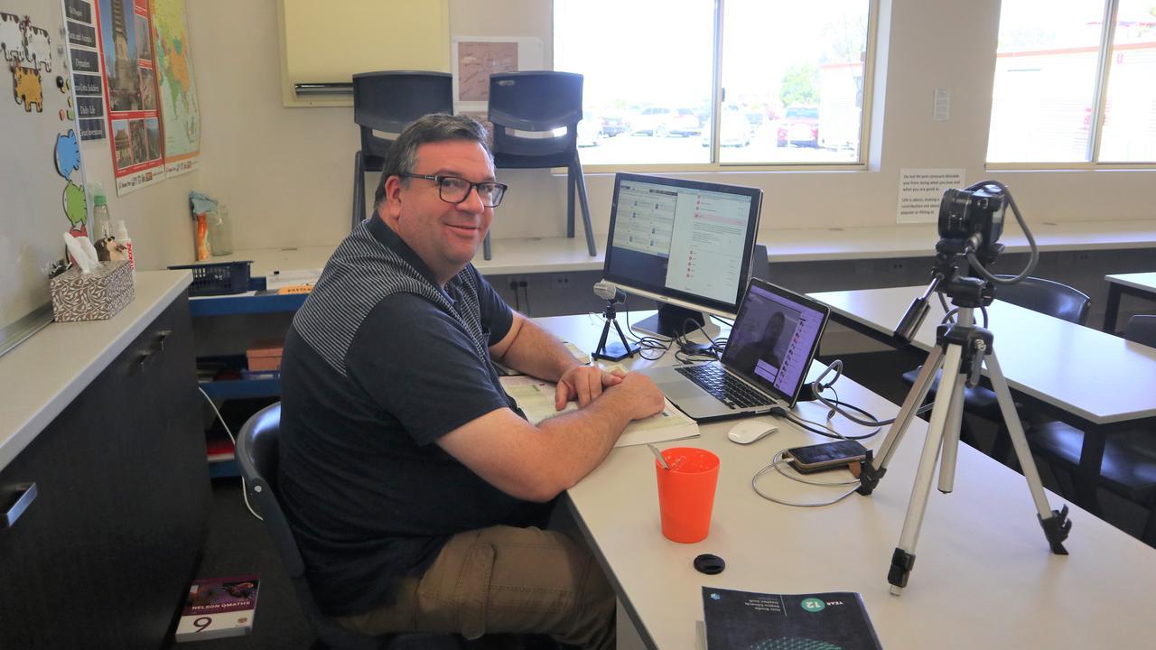 Lachlan Grierson teaches his Year 9 math class via video call.