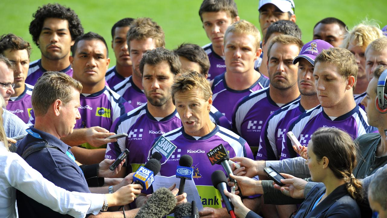 Melbourne Storm training at new stadium AAMI Park. Craig Bellamy and the Storm players greet the press. Media.