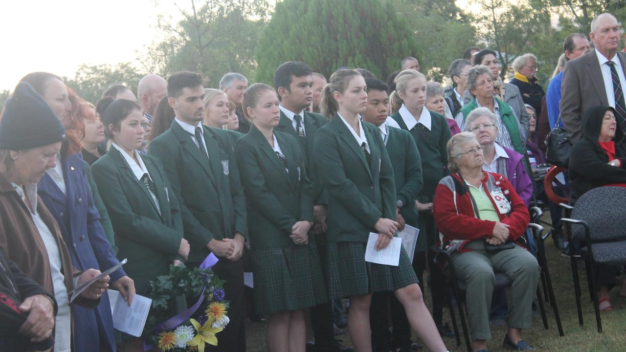 NO ANZAC CEREMONY: School students pay their respects at Monto's Anzac Day Dawn Service in 2016. Photo: File