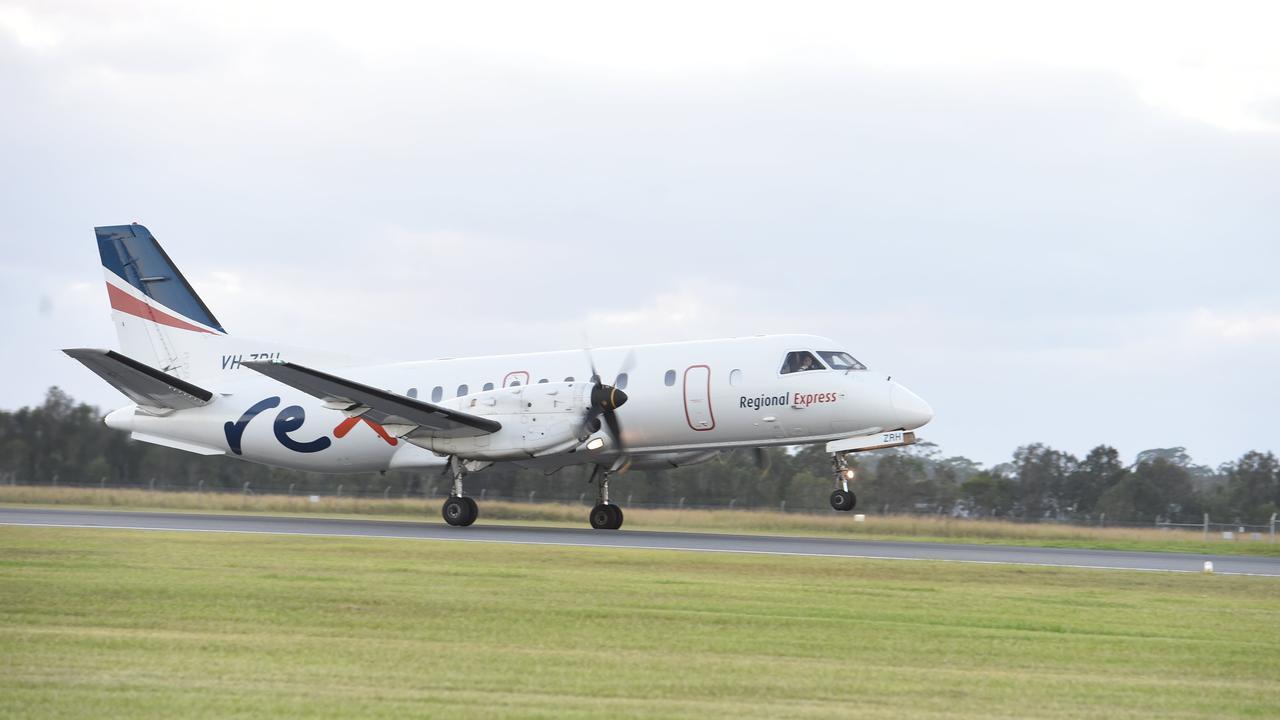 REX plane takes off at Ballina Airport.