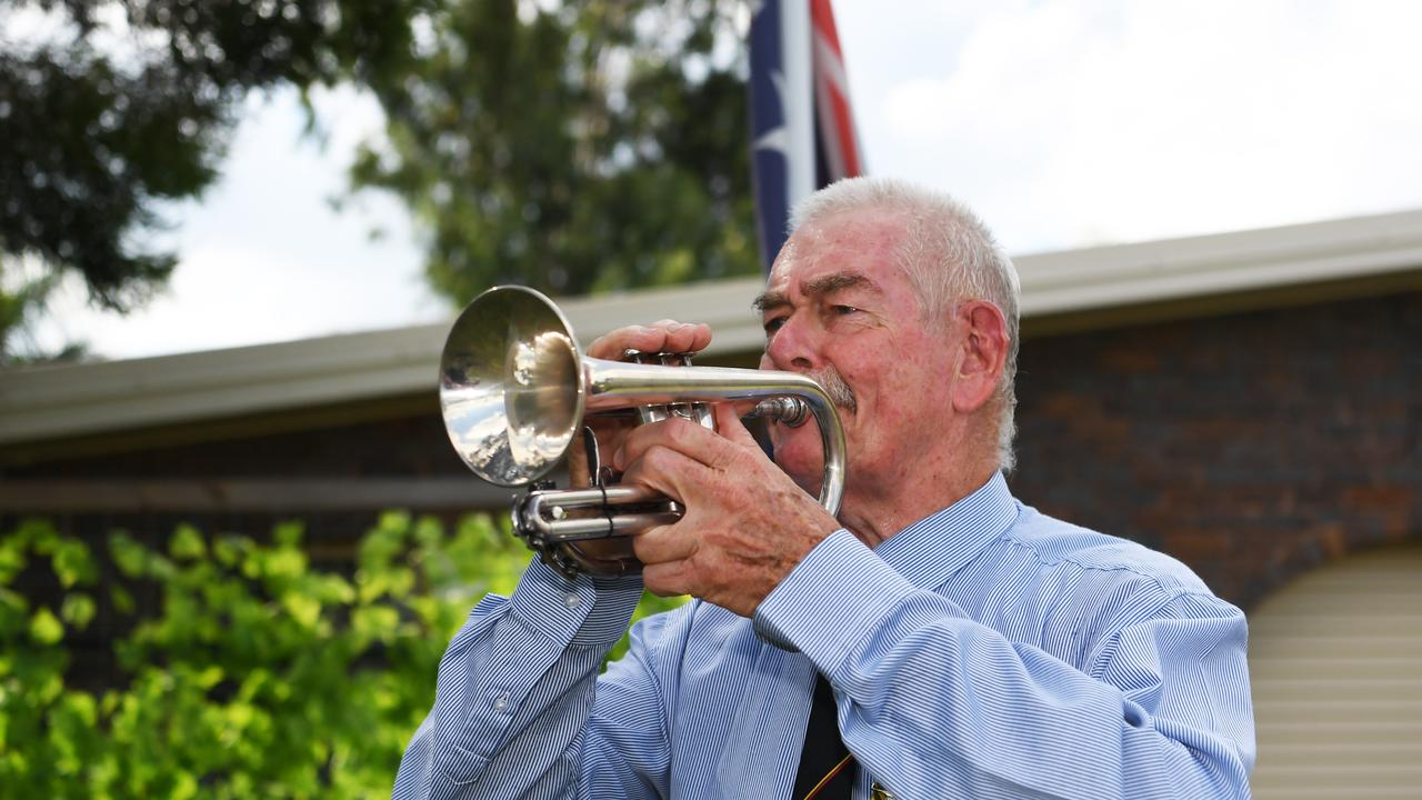LEST WE FORGET: Geoff Carter will be playing the Last Post and Reveille from his driveway on Anzac Day. Pictures: Allan Reinikka