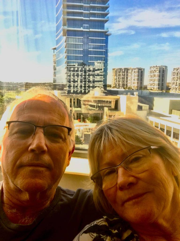 John and Di Leask while in hotel quarantine at the Crown Metropol Hotel in Perth.