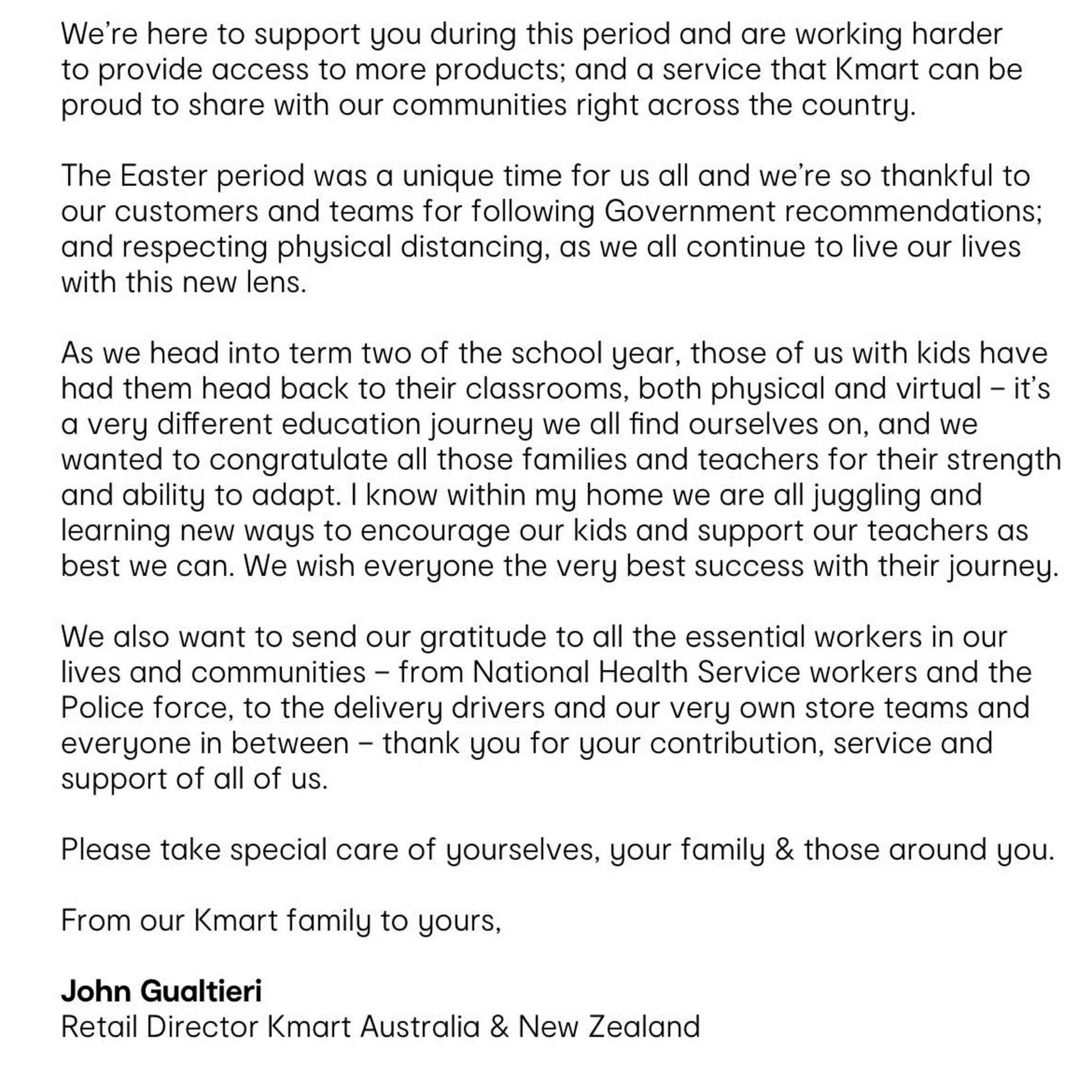 Kmart sent customers this email, apologising for the service during this busy time. Picture: Supplied
