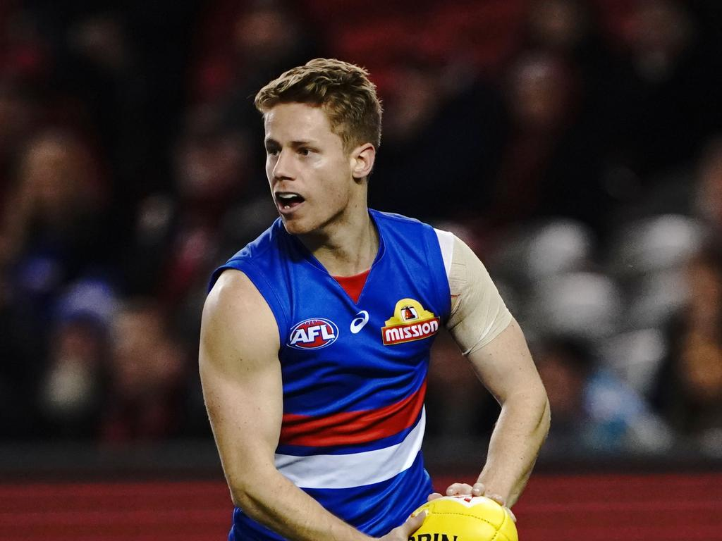 Lachie Hunter has played 128 AFL games for the Western Bulldogs.