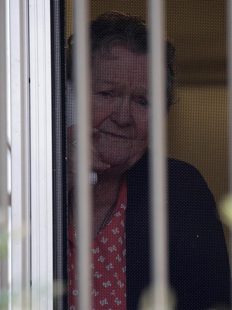 Eighty-one year old resident Jan Doble pictured talking to her son. Picture: Christian Gilles