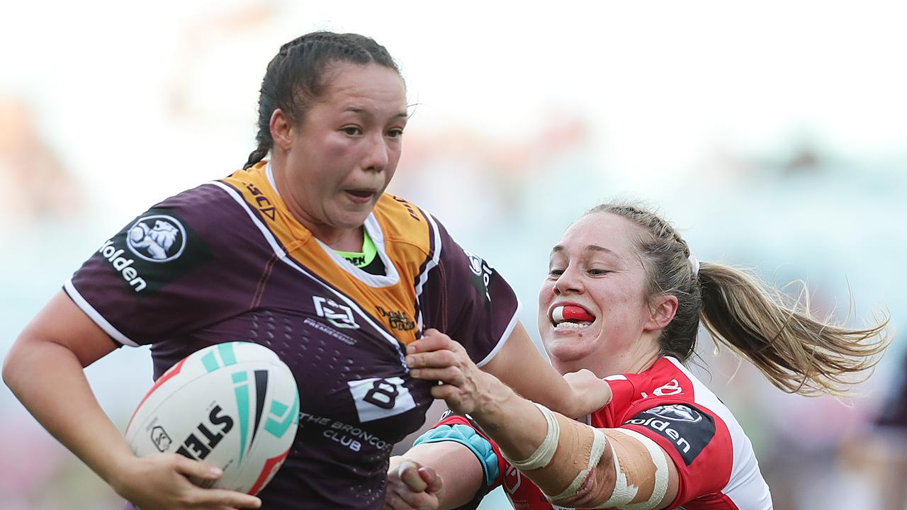 Raecene Mcgregor of the Broncos Is tackled by Kezie Apps in the NRLW grand final. Todd Greenberg says the emergence ofthe women's game was one of the highlights of his time in charge of the NRL. Picture: Mark Metcalfe/Getty Images