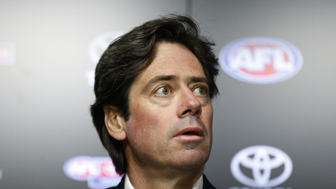 MELBOURNE, AUSTRALIA – MARCH 22: AFL CEO Gillon McLachlan speaks to the media during an AFL press conference at AFL House on March 22, 2020 in Melbourne, Australia. (Photo by Darrian Traynor/Getty Images)