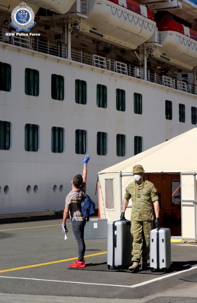 The repatriation process has begun for crew members on board the ill-fated Ruby Princess ahead of the cruise ship's scheduled departure on Thursday.