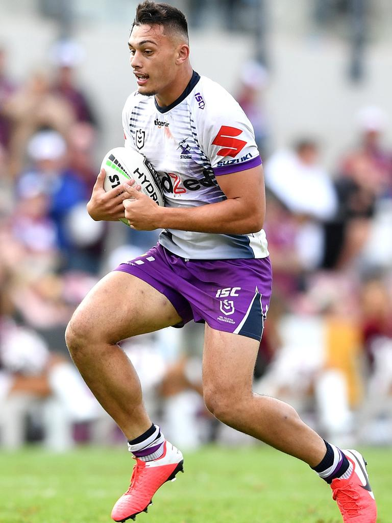 Tino Fa'asuamaleaui in action against the Manly-Warringah Sea Eagles in March.