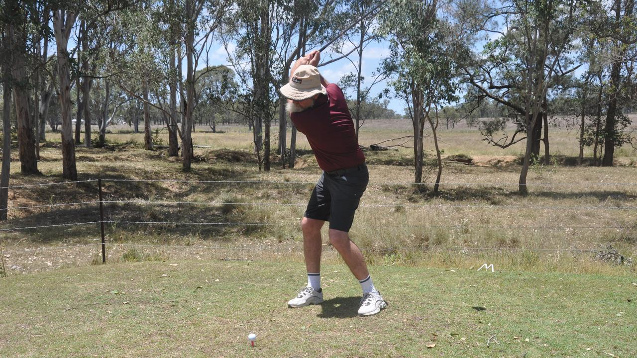 Taking a hit at the on the Monto Golf Club. Picture: File