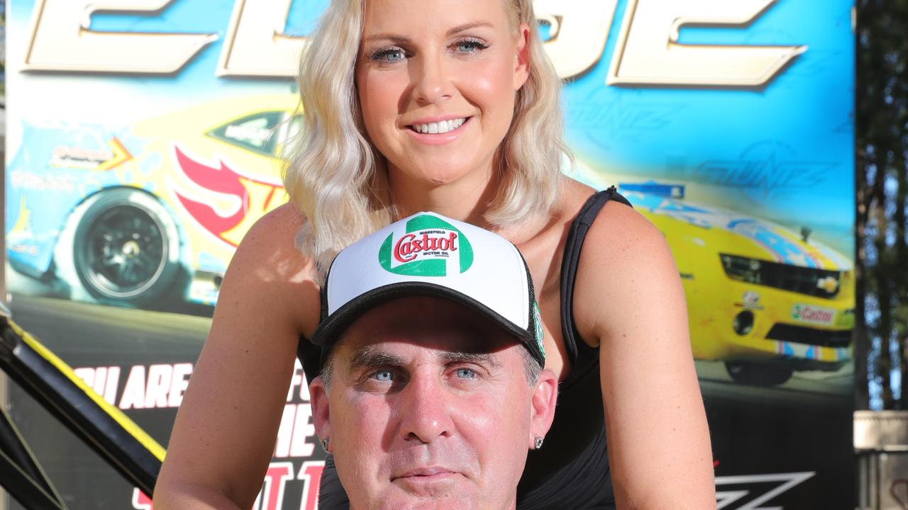 Gold Coast Stunt rider Matt Mingay with wife Sheena. Picture: Glenn Hampson