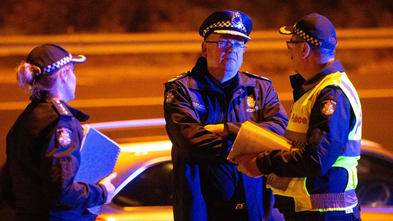 Chief Commissioner Graham Ashton at the scene. Picture: Mark Stewart
