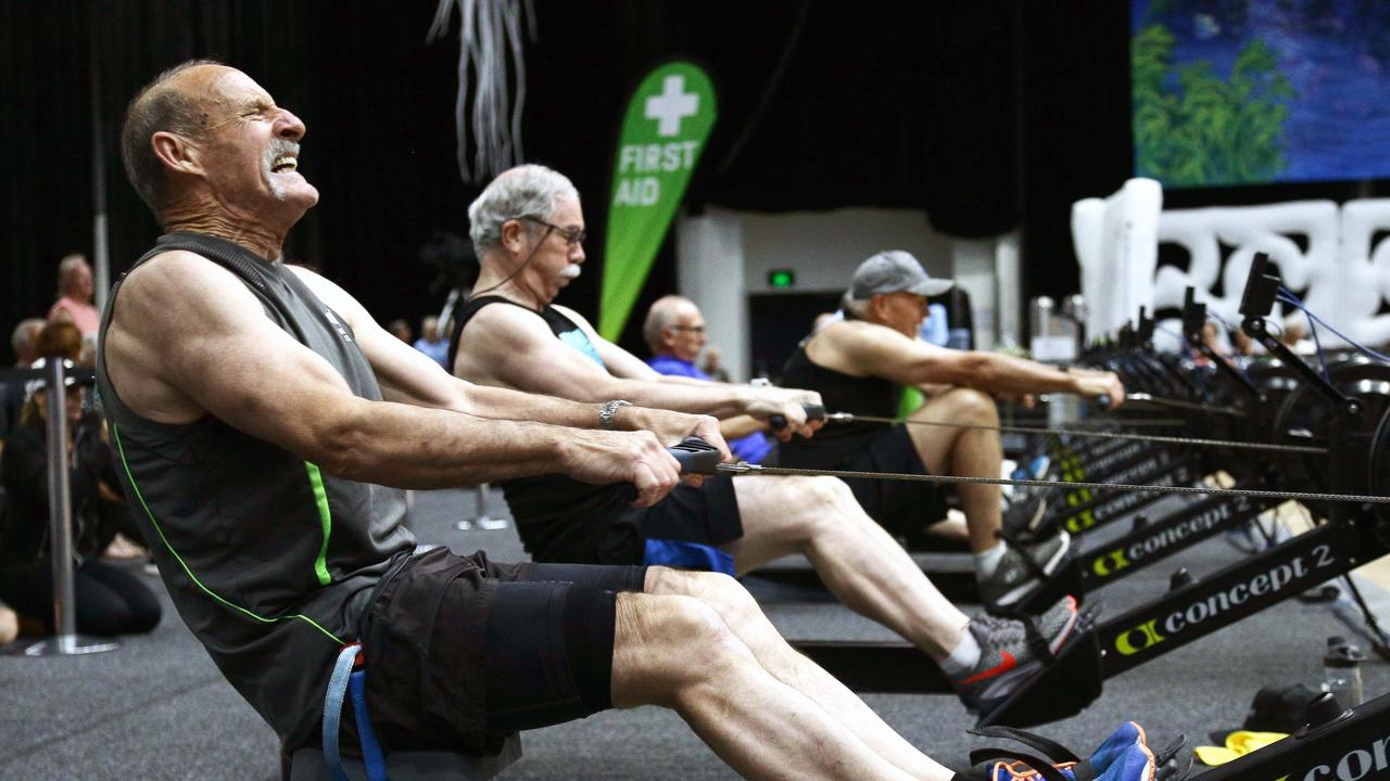 Peter Beare competes in the indoor rowing at the Gold Coast Convention and Exhibition Centre on Wednesday. Put in the hard yards like they did for tomorrow's ANZAC Day challenge. GCB - Tertius Pickard