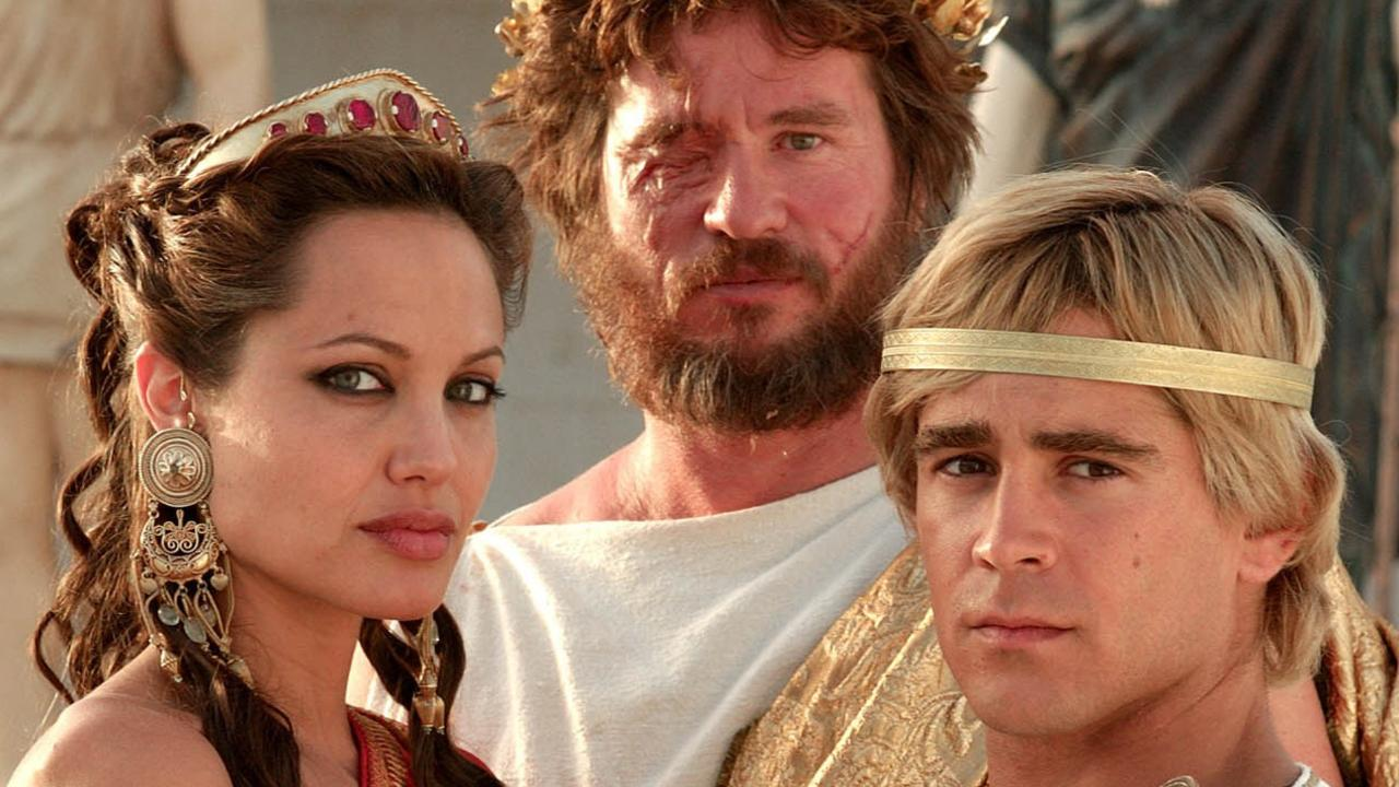 Angelina Jolie, Val Kilmer and Colin Farrell starred together in Alexander. Picture: Jaap Buitendijk/Warner Bros/AP