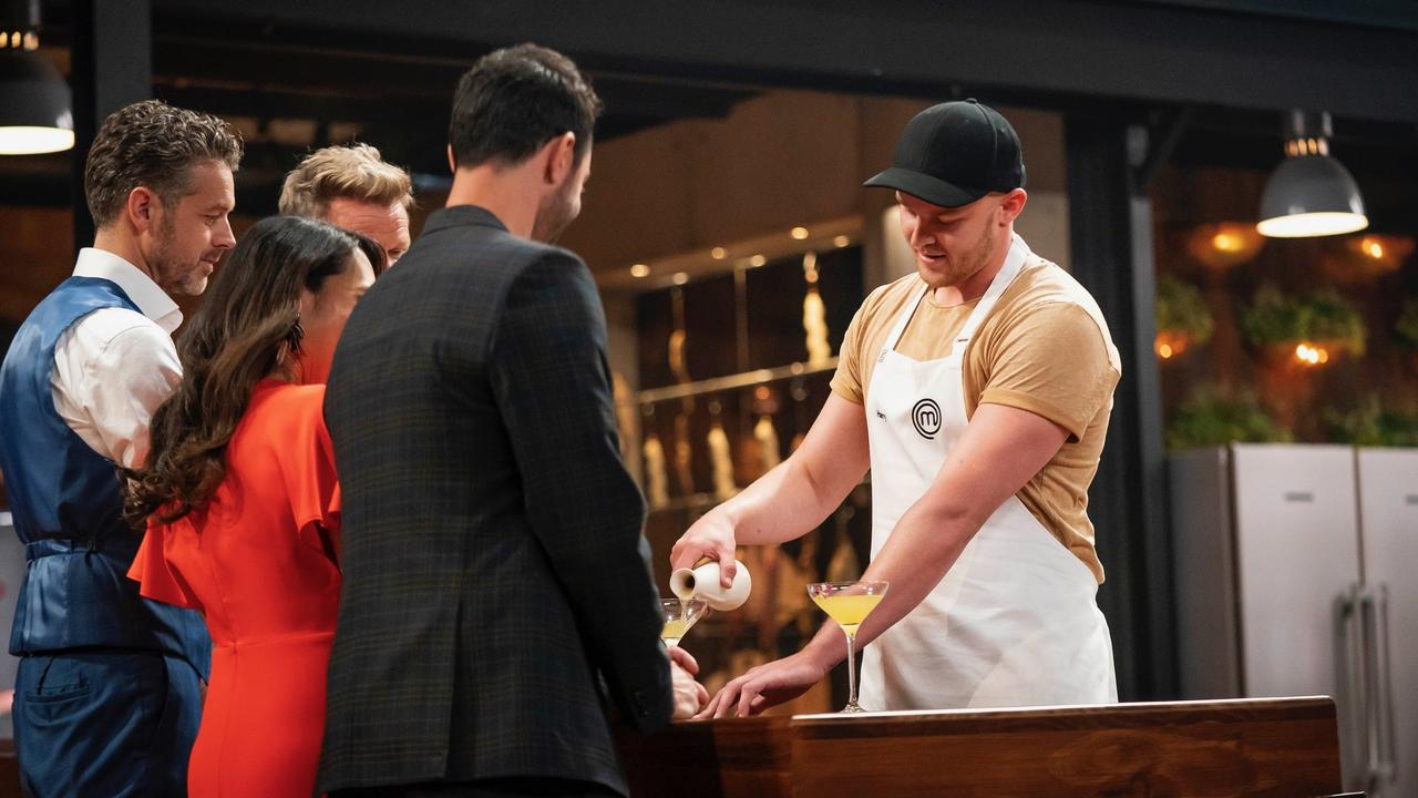 Harry Foster served up a cocktail as well as a seafood dish to the MasterChef judges in the season 12 premiere. Supplied by Channel 10.