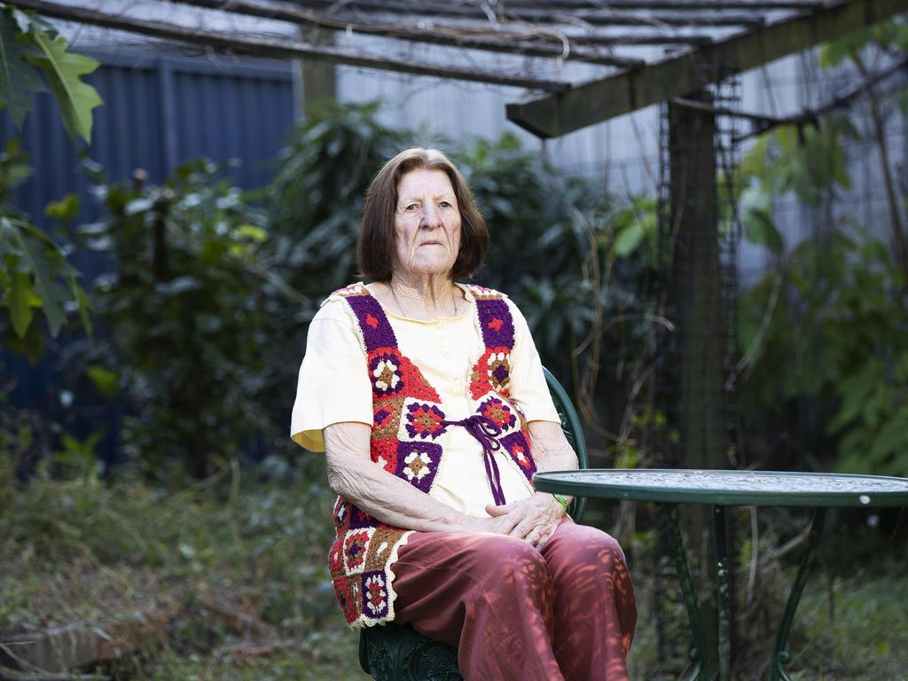 Wavell Heights grandmother Gwendoline Sandall, 81 is isolating at home and said the pandemic is proving tougher than she expected. Picture: AAP Image/Attila Csaszar