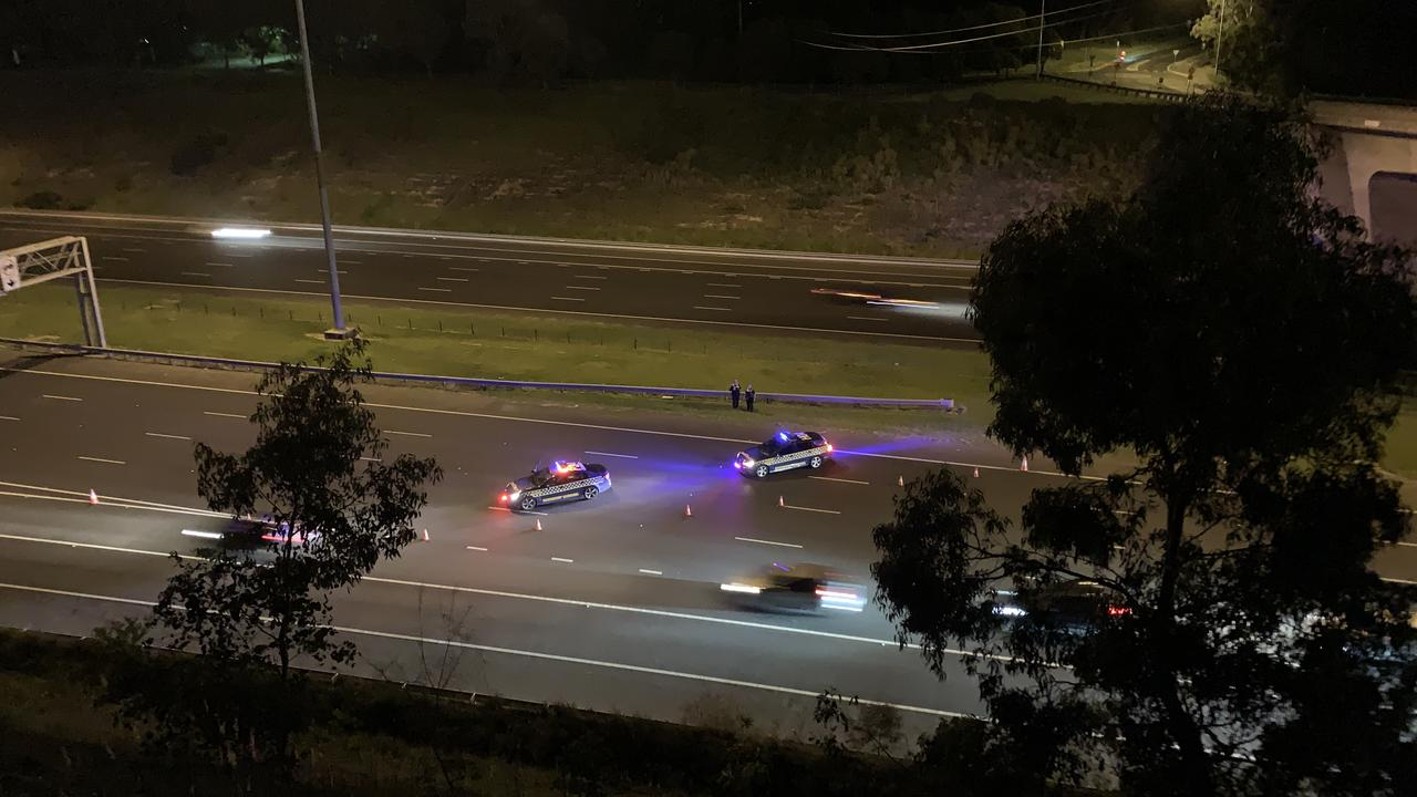 Police have blocked off the Eastern Fwy after a horror crash. Picture: Josh Fagan
