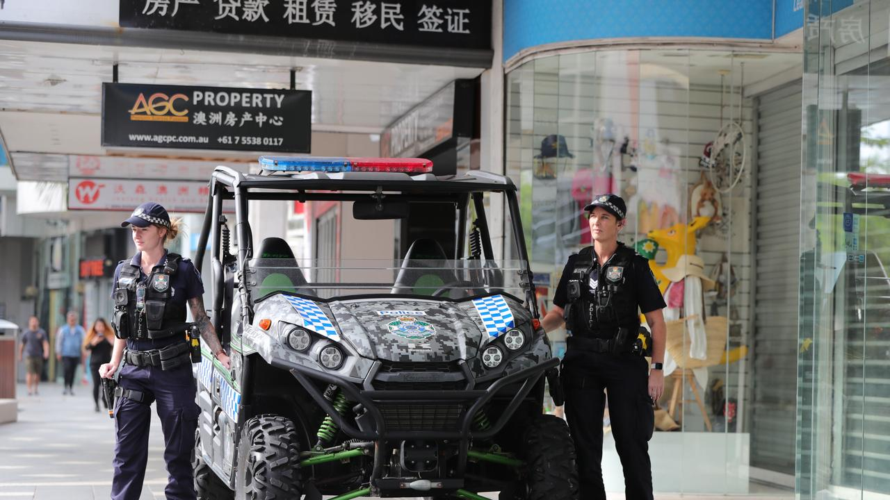 Police officers are actively patrolling areas with closed businesses to ensure thieves aren't taking advantage of the situation. Picture: Glenn Hampson