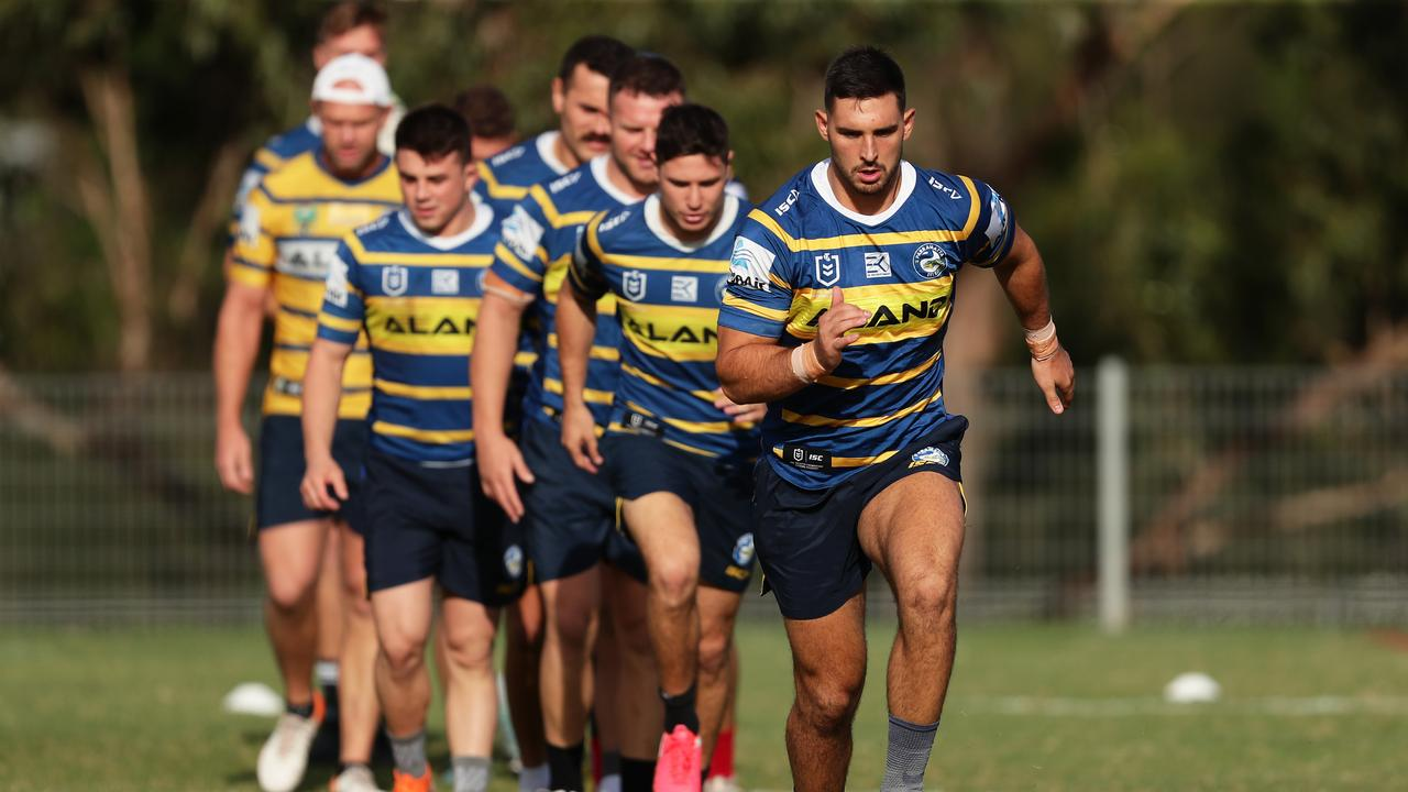 SYDNEY, AUSTRALIA - MARCH 17: Ryan Matterson warms up during a Parramatta Eels NRL training session at Kellyville Park on March 17, 2020 in Sydney, Australia. (Photo by Matt King/Getty Images)