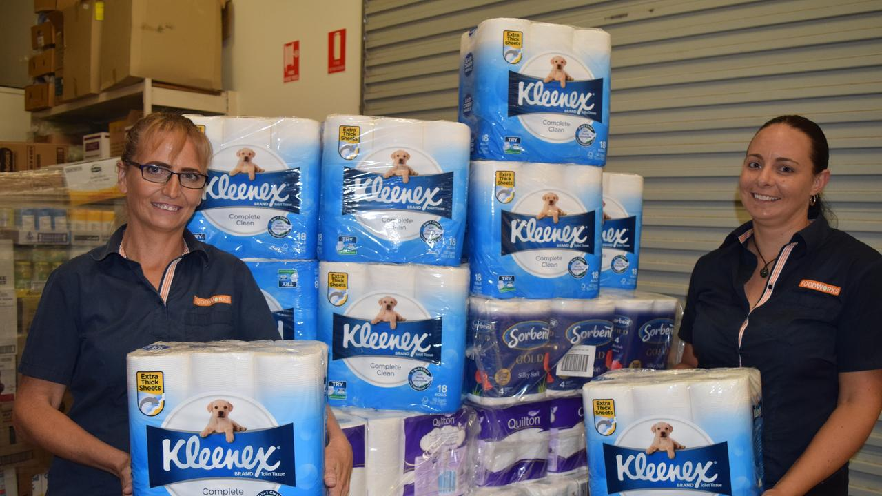 IN STOCK: Biggenden FoodWorks employees Vanessa Holmes and Lee Clausen unloading a supply of toilet rolls in March. Picture: Erica Murree
