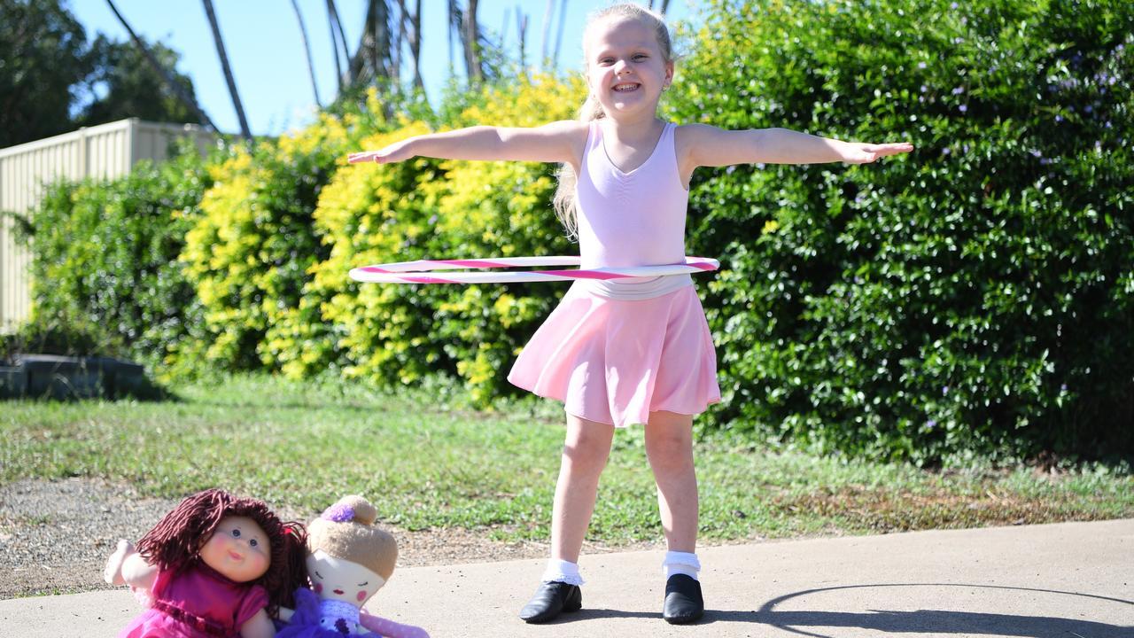 Ruebie Zielke from Debbie's Dance School shows off her hula skills in her Parkhurst driveway