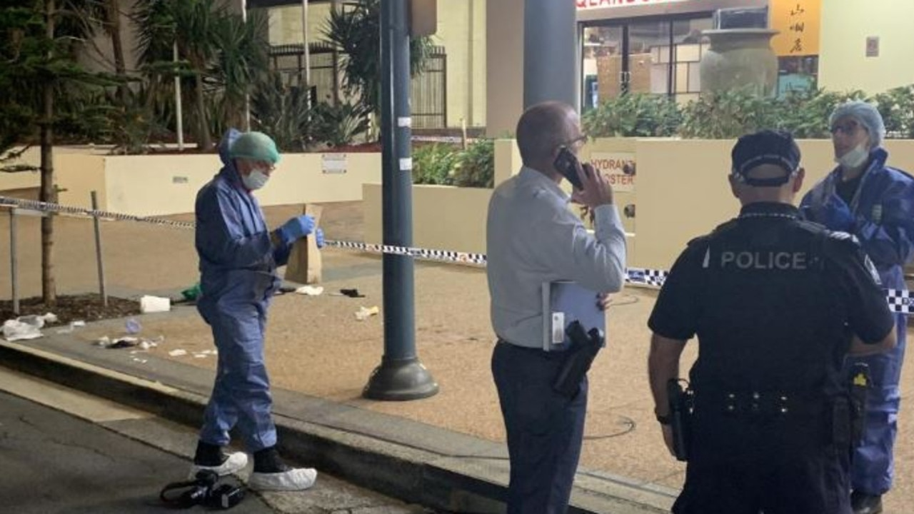Pictures of the stabbing murder scene out the front of the Beachcomer Hotel in Hanlon Street, Surfers Paradise where Nicholas Braid lost his life. Picture: Ryan Keen