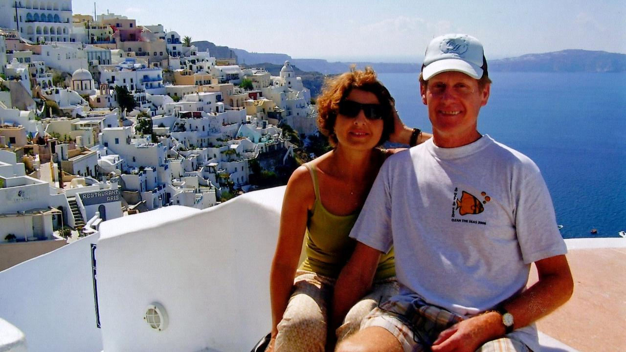 Murdered security guard Gary Allibon with his wife Monica on holiday in Greece in 2008.