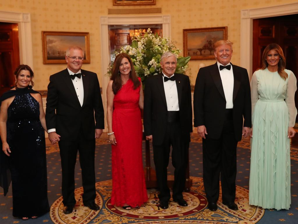 Prime Minister Scott Morrison and wife Jenny with Kerry Stokes and his wife Christine Simpson Stokes, pictured with President Donald Trump and the First Lady Melania Trump. Picture: Adam Taylor