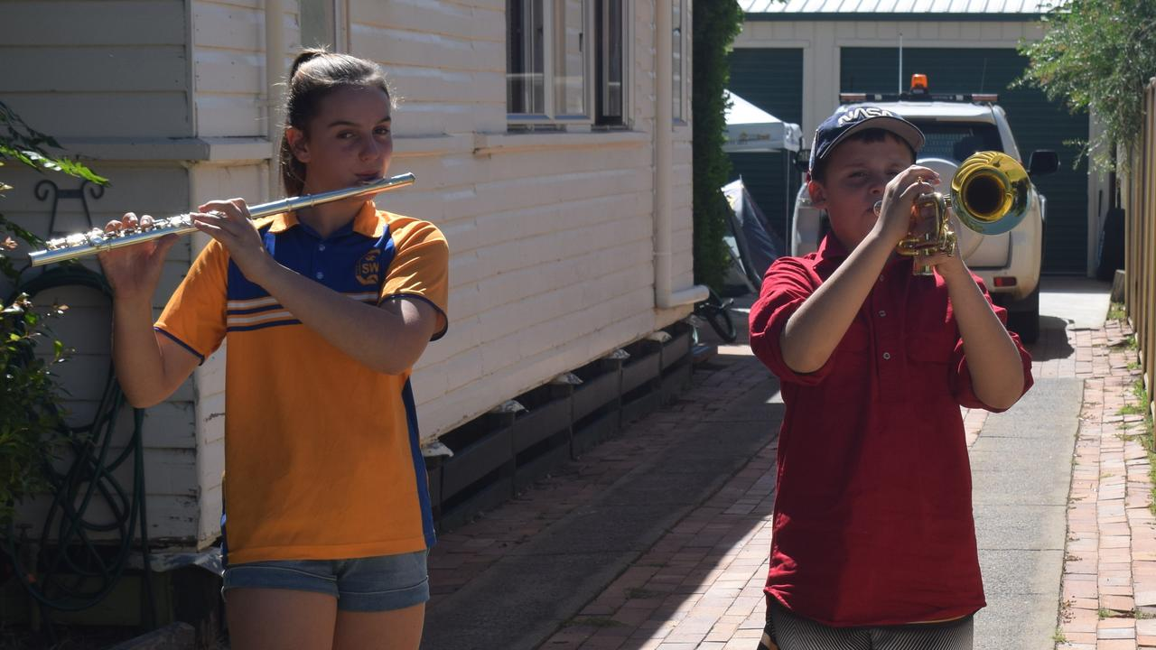 UNITED: Siblings Sophie and Dale Scutchings will be playing their instruments on ANZAC DAY in their driveway ceremony.
