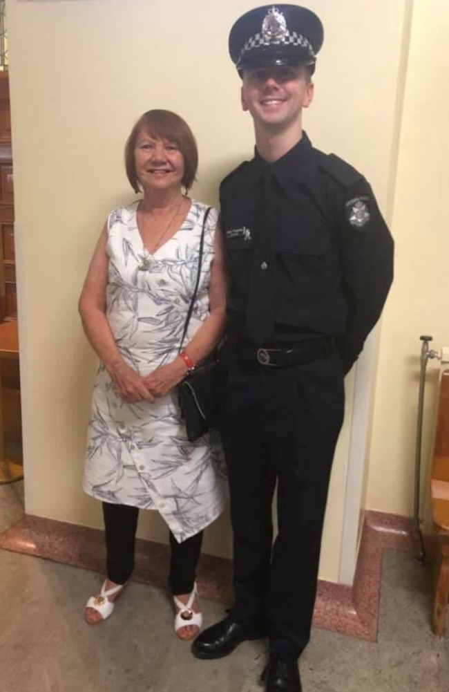 Eliza Anderson with her grandson Constable Josh Prestney. Picture: Facebook