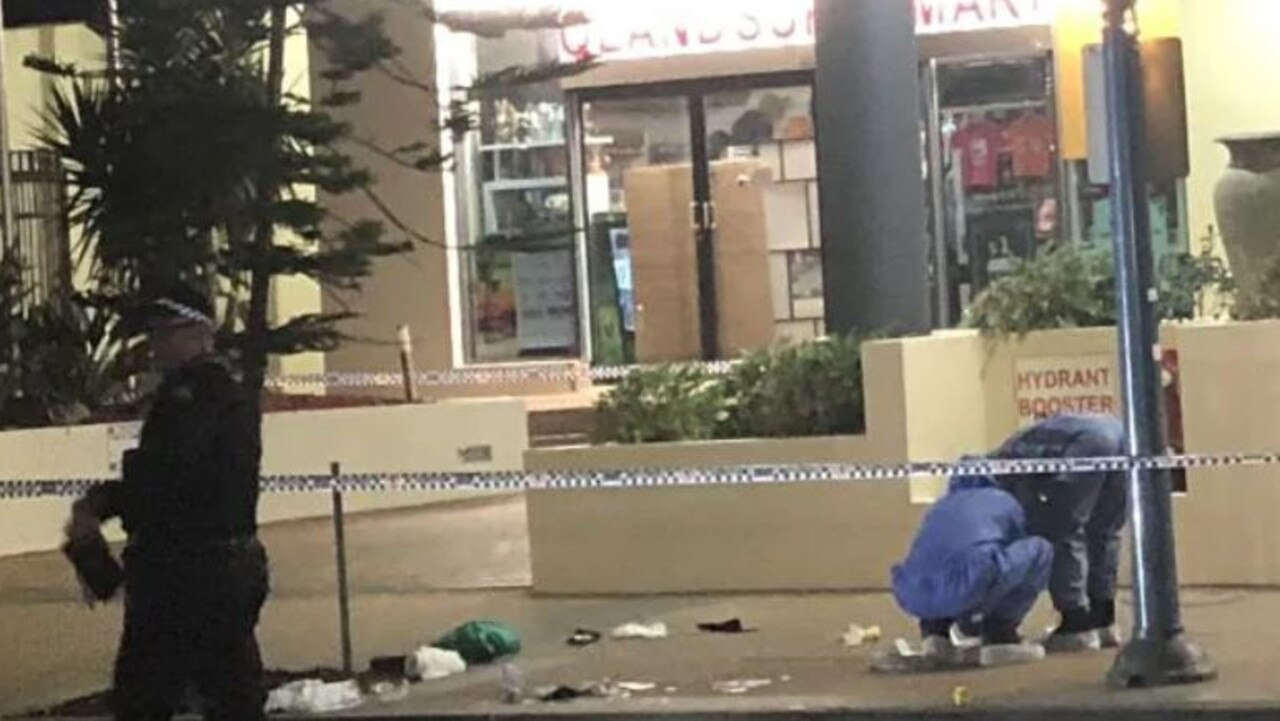 The crime scene out the front of the Beachcomer Hotel in Hanlon Street, Surfers Paradise where Nicholas Braid lost his life. Picture: Shiloh Payne