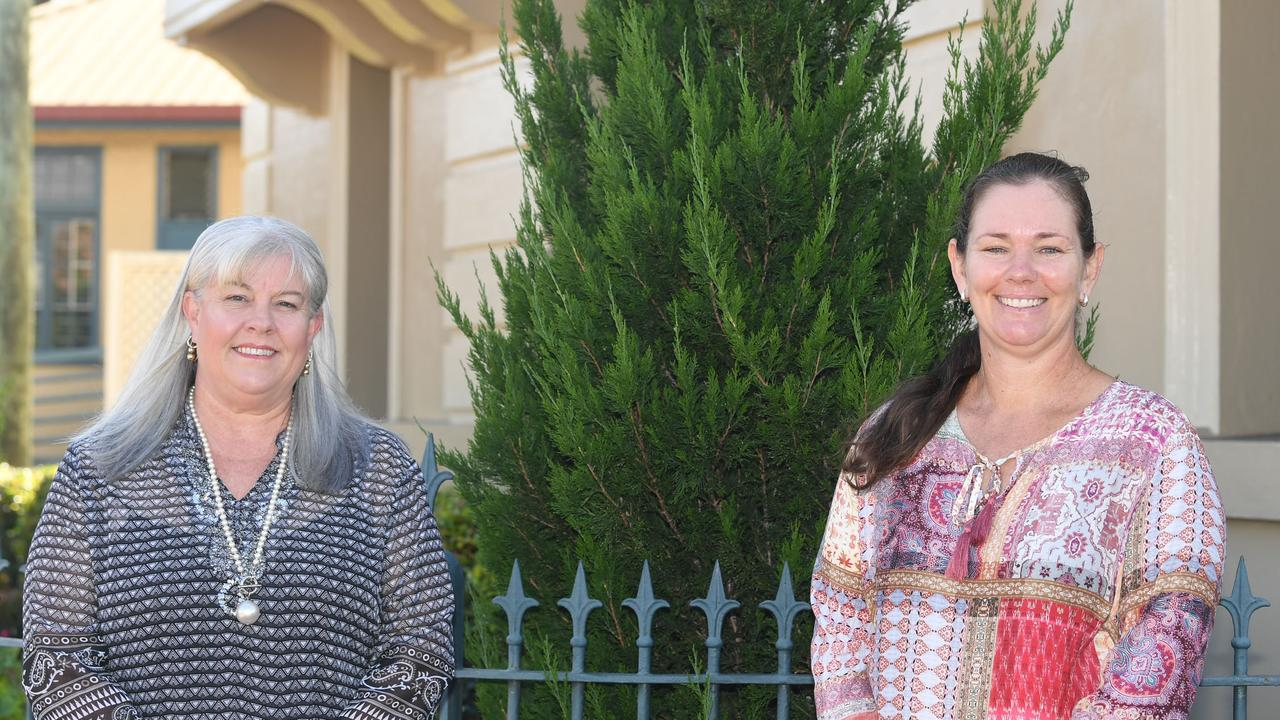 The women of Gympie Regional Council, Dolly Jensen and Jess Milne, outside Gympie Town Hall yesterday.