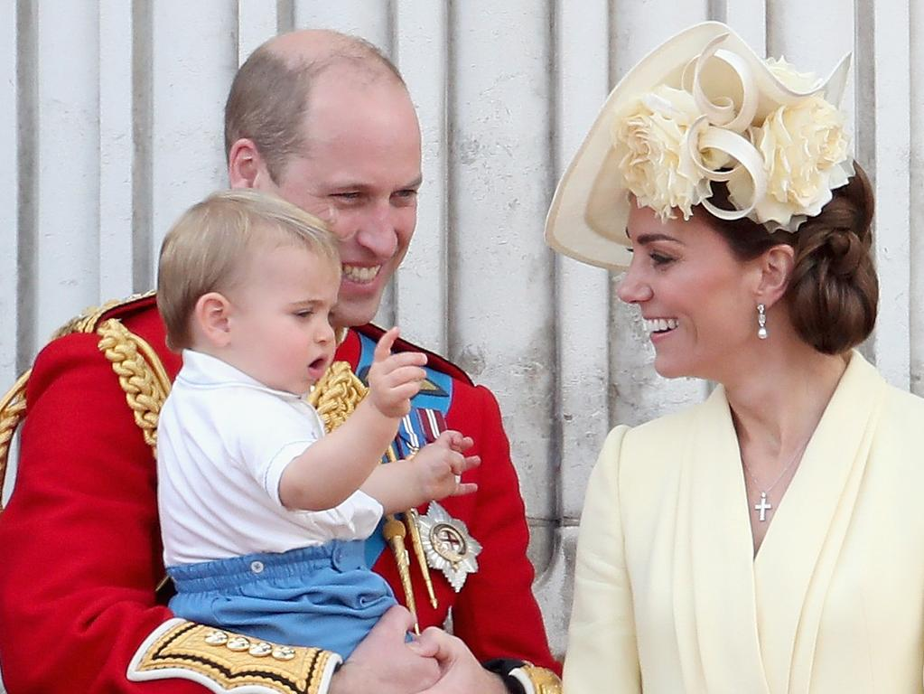 Prince William, Kate Middleton and Prince Louis during Trooping The Colour, the Queen's annual birthday parade, on June 8, 2019. Picture: Getty Images