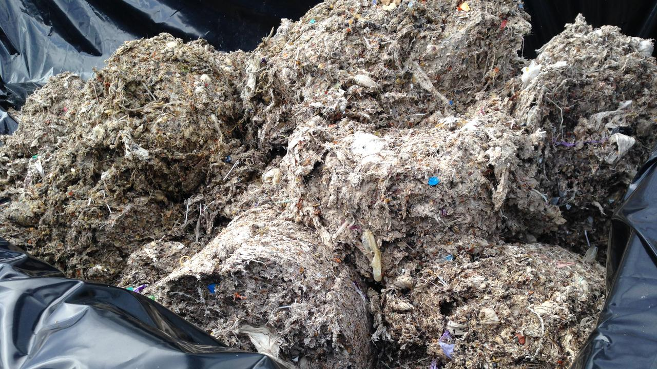 Wet wipes pulled out of a facility at Luggage Point. Picture: Urban Utilities