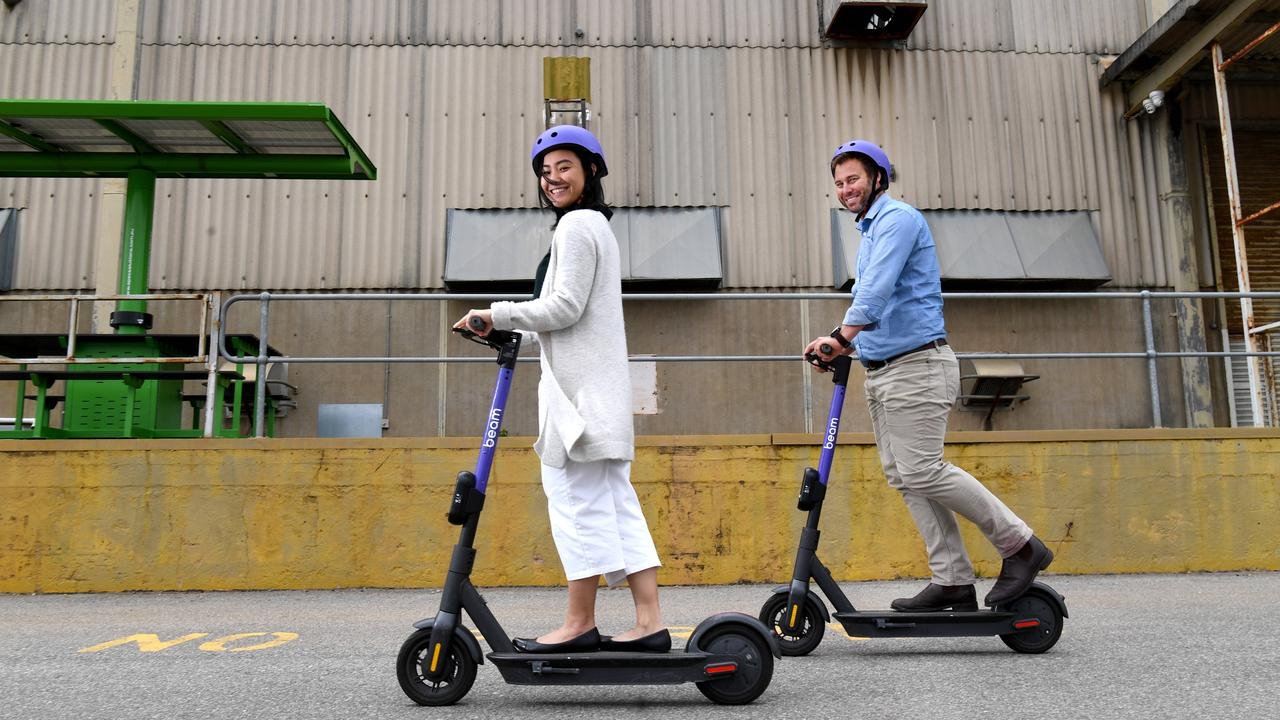 Beam launched scooter services in Adelaide and Bunbury, WA. Picture: Tricia Watkinson