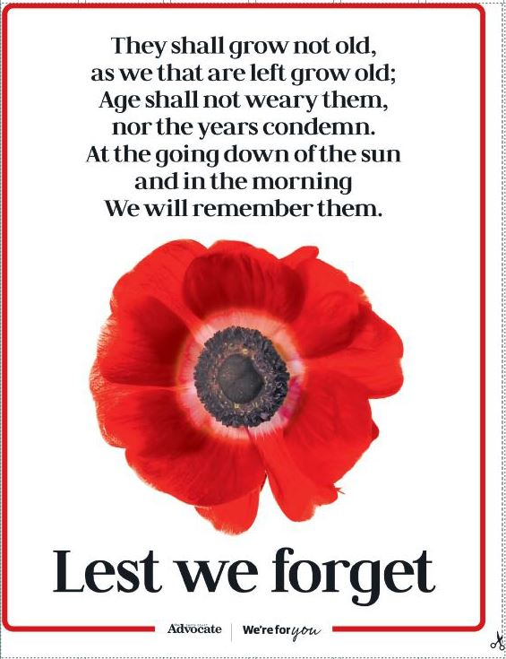 The Coffs Coast Advocate is printing an Anzac Day window poster in Saturday's edition so readers can share the Anzac Spirit in their neighbourhood.